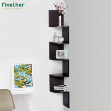 Finether 5-Tier Zig Zag Floating Wall Corner Shelf Unit Wall Mounted Shelving Bookcase Storage Display Organizer, Espresso(China)