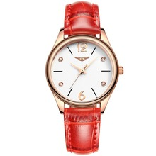 relogio feminino GUANQIN Fashion Watches Women Luxury Brand Rose Gold Quartz Watch Ladies Casual Red Leather Strap Wrist Watch(China)