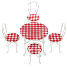 5pcs/set Doll House Furniture Metal Toy Tables and Chairs DIY Dollhouse Accessory Furniture Living Room Dining Room Gift for kid(China)