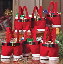 1pcs Fashion Christmas Santa Pants Spirit Candy Bags Xmas Decoration Sack Cute Child Gift Home Party Decor