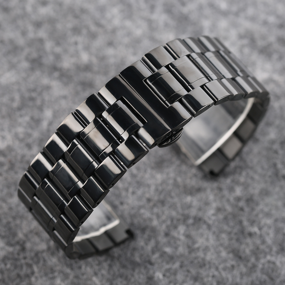 YISUYA High Quality Butterfly Buckle Watch Band Men's Black Wrist Band Strap 18 19 20 mm Stainless Steel Replacement with Tag (9)