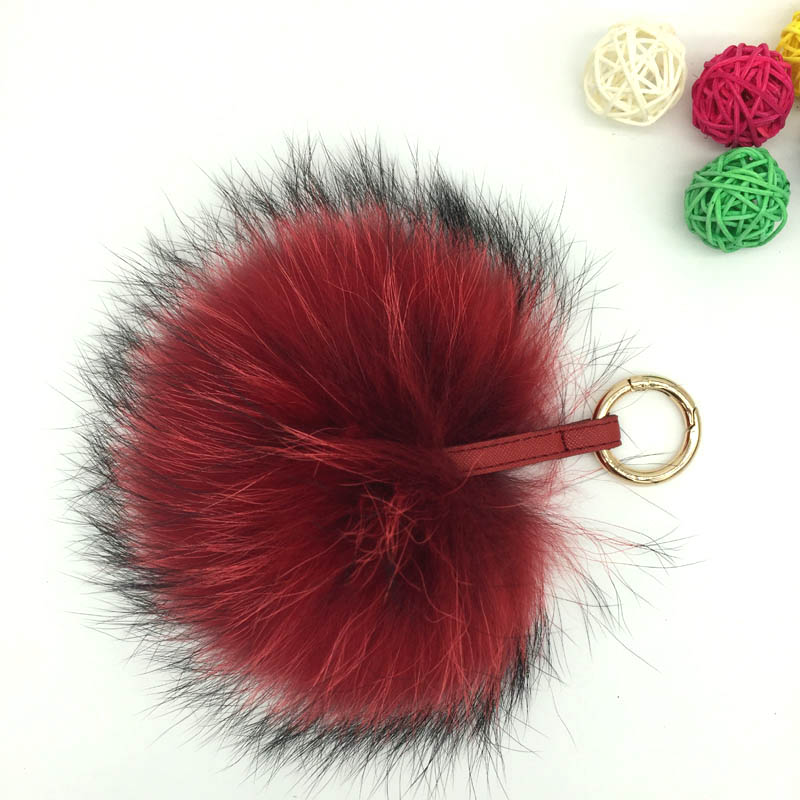 raccoon fur pompom red colors