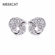 MEEKCAT Minimalist Silver Color Twisted Knot Stud Earrings Bijoux Jewelry Mini Cute Simple Earring Brincos de Prata For Womens