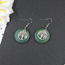 Simple Circular Drop Earrings For Women Vintage Red Green Wood Long Earrings Charm Fashion Jewelry Wholesale Gift HE10345(China)