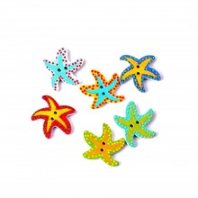 Free Shipping Retail 10Pcs Random Mixed 2 Holes Painting Cartoon Star Woode Buttons Sewing Scrapbooking 20x23mm