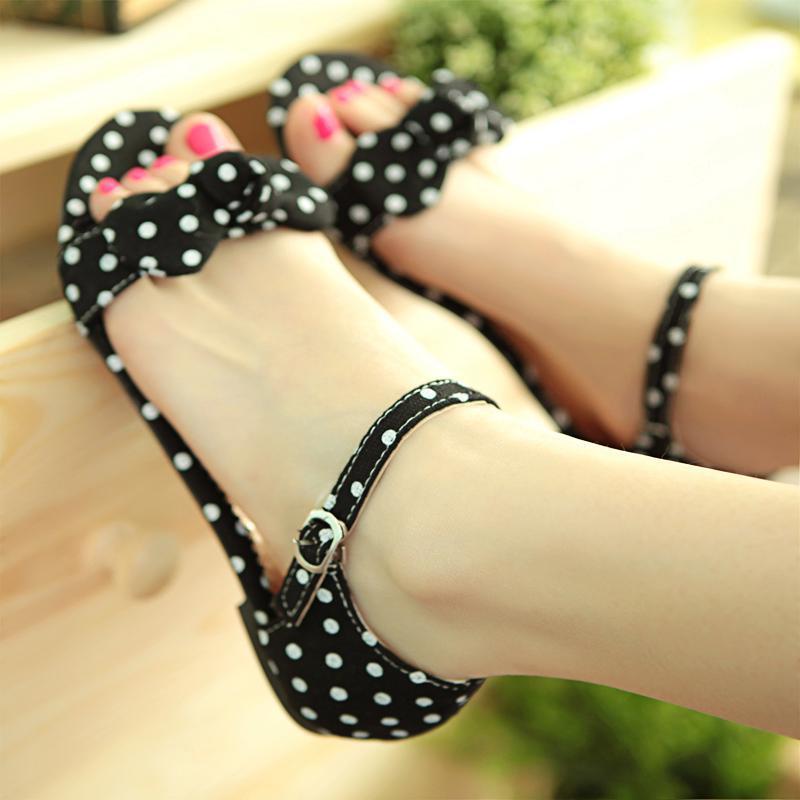 Big Size 34-44 Sweet Polka Dot Bow shoes Transpierce Gentlewomen Brief Hasp flat-bottomed Female Sandals Summer New flat AA369<br><br>Aliexpress