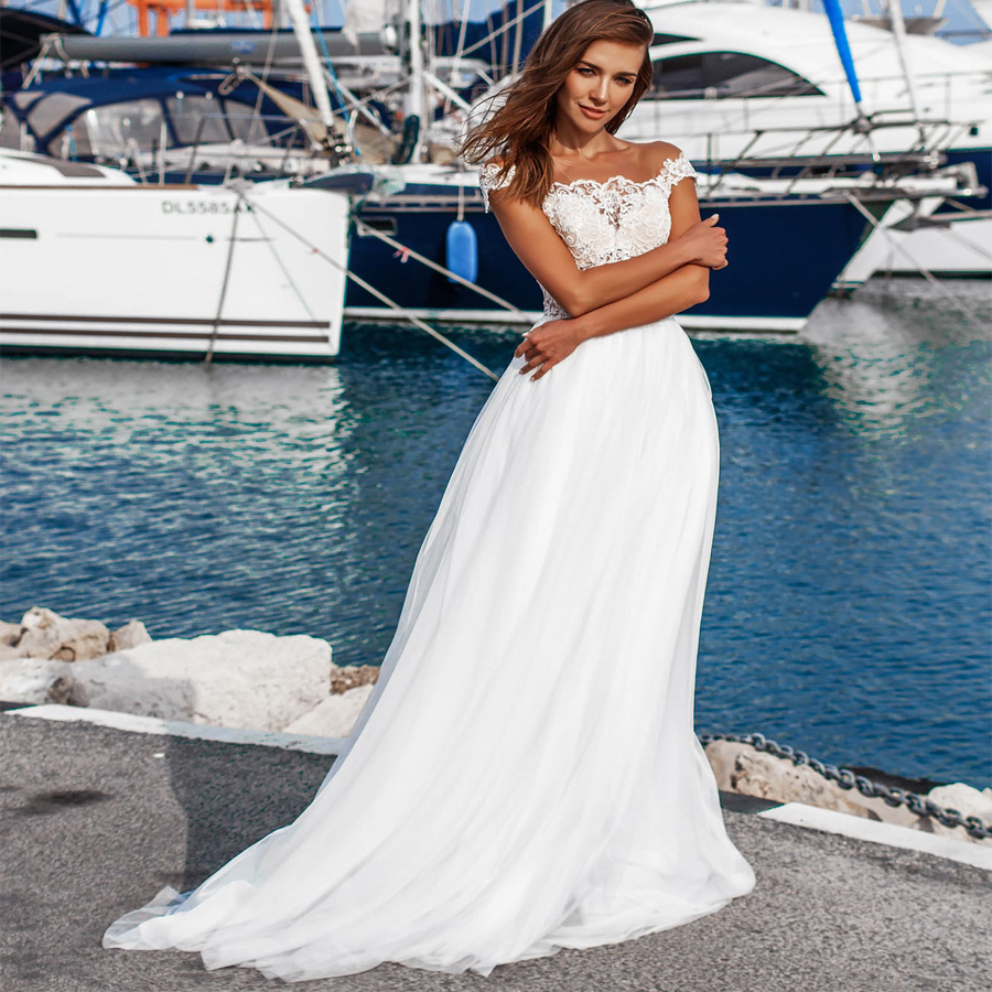 2019 Sexy Illusion Wedding Dresses Custom Off Sofuge The Shoulder Sleeveless Lace Bridal Gowns Robe De Mariage