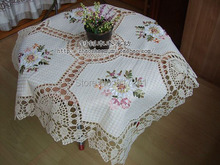 free shipping lace tablecloth for wedding table overlay with embroidery flowers cotton crochet cutout table towel for home decor