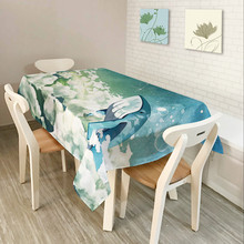 Tablecloth Polyester Rectangular Blue Ocean Stlye Table Cover Dinner Table Decoration Maison Printing Fish ev aksesuar(China)