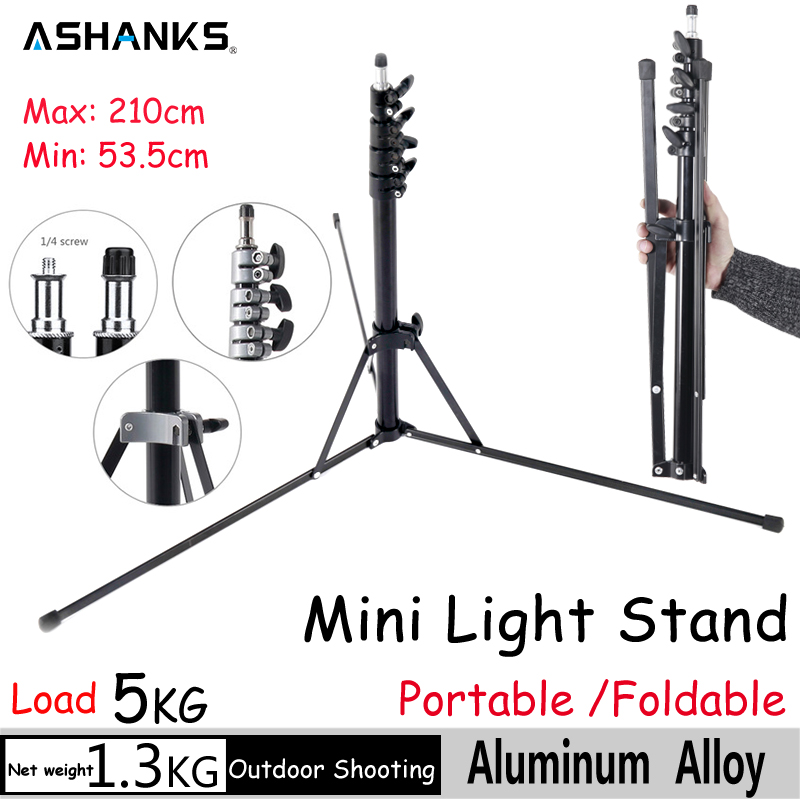 ASHANKS Foldable Light Stand Collapsible Aluminum Mini Tripod 2.1m Potable Lamp Stand Fotografia for studio Video Flash Light(China (Mainland))