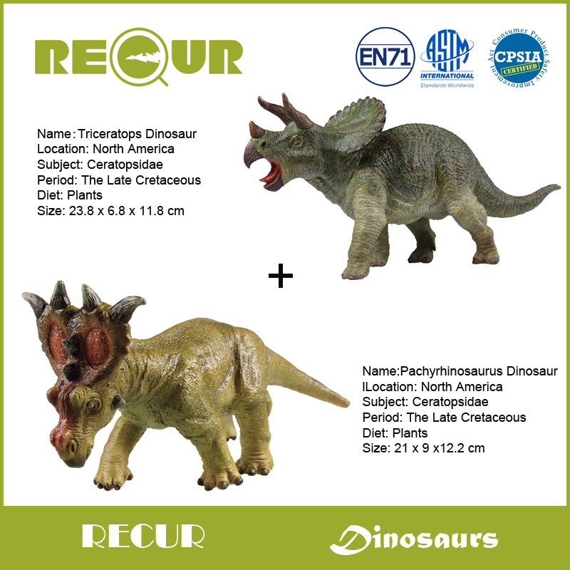 2 Pieces Recur Toys Jurassic Period Triceratops+Pachyrhinosaurus Dinosaur PVC Model Hand Painted Dinosaur Action Figure Soft Toy<br>