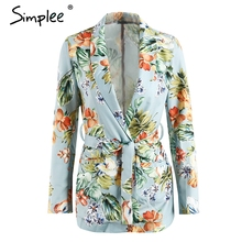 Simplee Elegant flower print sashes suit jacket coat Pocket long sleeve jacket women Lace up waist tie fashion coats outerwear