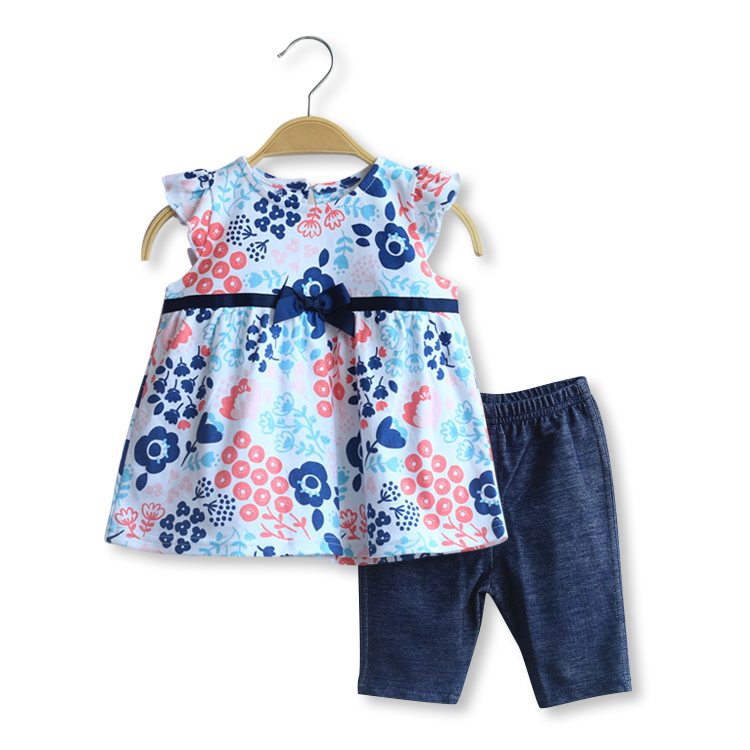 2016 fashion children summer clothes cute baby girl RARE EDITIONS Boutique outfits sets print  Floral ruffle shirts pant suits<br><br>Aliexpress