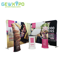 Two 10ft*8ft Straight Tension Fabric Backwall Display With Two Advertising Banner Stand And One Podium Oval Table(Include All)(China)