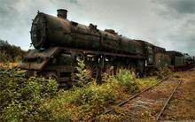 Nature trains railroad tracks vehicles rusted steam locomotives 4 Sizes Home Decoration Canvas Poster Print