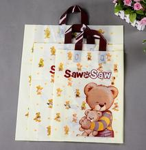 Qi Size:24*34*7cm Pink Sweet Gift Bag,Plastic Shopping Bag,Beige Plastic Garment Bag With Handle 25pcs/lot Jewelry Carry Bag