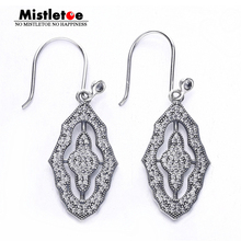 Authentic 925 Sterling Silver Sparkling Lace Earrings, Clear CZ Drop Earrings Compatible with European Jewelry