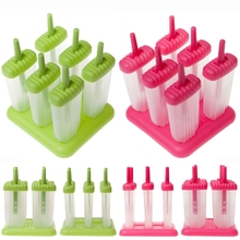6Pcs Ice Cream Popsicle Molds Cooking Tools Rectangle Shaped Reusable DIY Frozen Ice Cream Pop  Baking Moulds