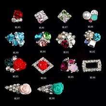 500PCS/lot Luxury Japanese nail jewelry decoration alloy heap rhinestones pearls 3d nail art charm nail metal