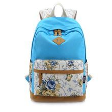 VSEN Floral Canvas Bag Backpack School for Teenager Girl Laptop Bag Printing Backpack Women Backpack Lake Blue