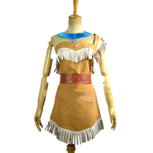2017 Cosplay Ladies Fancy Dress Costumes Wild West Pocahontas Indian Costume Pocahontas Cosplay Dress(China)