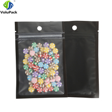 8.5x13cm/ 3.25x5in 100pcs Tear Notch Matte Clear/ Black/ Black Reclosable Mylar Plastic Zip Lock Pouch Bags With Hang Holes(China)