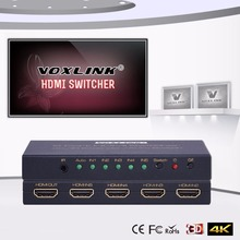 VOXLINK 1080P 4K*2K HDMI Switch 5 Port HDMI Switcher With IR Remote Control For PS3/4/XBOX360/Projector/PC/DVD 5 INPUT 1 OUTPUT