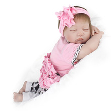 Simulation Baby Girl Doll Lifelike Reborn Baby Companion Doll Soft Rubber Adorable Sleeping Close Eyes Girl Dolls For Gift(China)