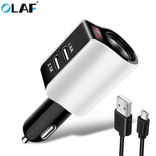 Buy OLAF Car Charger Adapter iPhone Samsung LED Screen Lighter 2-Port USB Car-Charger 2.1A Charging Mobile Phone usb Micro Cable for $4.99 in AliExpress store