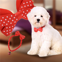 New Arrival Red Resin Pet Collar Bells With Acrylic Pearl + Copper Bell + Canvas Bowknot for Pet Decoration(China)