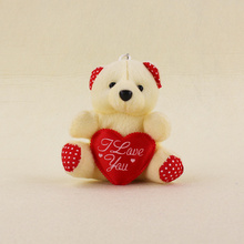 10pcs/lot 15cm Creamy-white Teddy Bear Holding Heart Plush Sucker Pendant Toys Kawaii Bear Action Figures Kids Birthday Gifts(China)