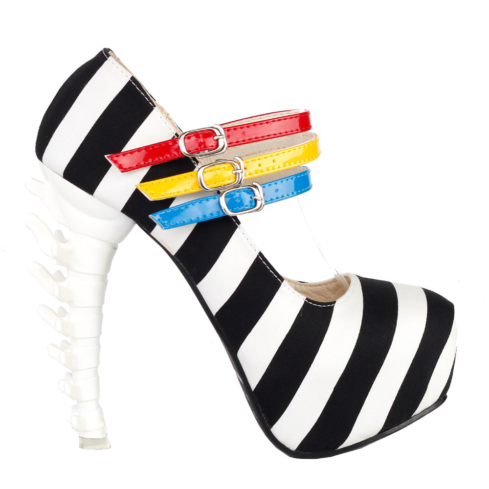 LF80636 Black White Stripe 3 Strap Platform Bone Heel Mary Jane Pump Size 4/5/6/7/8/9/10<br>