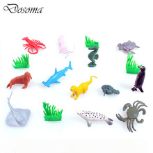 12pcs 2-inch Simulation Models Of Marine Animals +2 Aquatic Plants Model Kit Cute Dolphin Starfish Crab Sea Lion Hand To Do Toy(China)