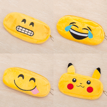 1pc Emoji Pencil Case Kawaii Plush Cartoon Pattern Pencil Box Kids Toy Student Gift Storage Bag School Office Stationery Suplies