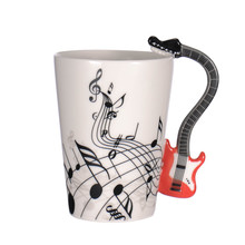 Creative Novelty Guitar Ceramic Personality Music Note Milk Juice Lemon Mug Coffee Tea Cup Home Office Drinkware Unique Gift