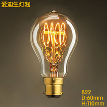 B22 Base 40w A19 Vintage Edison Bulb Dimmable Antique Filament Tungsten Spiral Globe Style Incandescent Bulbs 110V 220v(China)