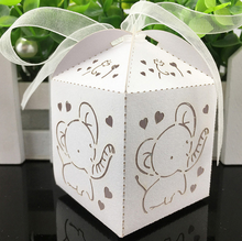 100 X Hot Sale Laser Hollow Out White / Pink Elephant Wedding Favors Candy Boxes Bomboniera Baby Shower Gift Box With Ribbons