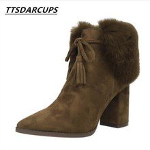 TTSDARCUPEuropean and American fashion Warm winter boots With crude High heel suede sexy night shop Thin Woolen short boots(China)