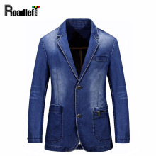 Male Brand Slim Fit Denim Blazer Men Fashion Casual Blazers And Suit Jackets Men Classic Royal Blue Clothing Cotton Jeans Coats