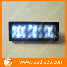 White led name badge LED signs Rechargeable LED Display Badge 44x11 Dots Rechargeable Scrolling Name Badge Business Card Tag(China)