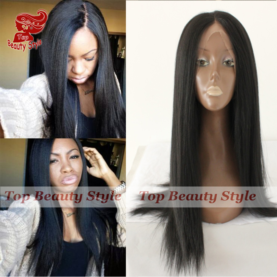 2017 Fashion Italian Yaki Straight Synthetic Lace Front Wig For Black Women Light Yaki Black Wigs With Baby Hair Free Shipping<br><br>Aliexpress