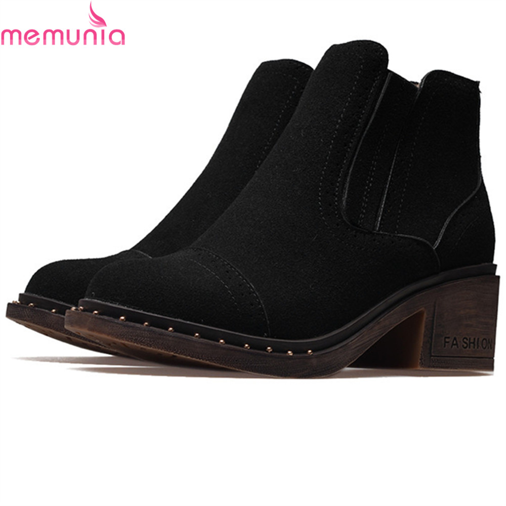MEMUNIA 2018 fashion autumn winter new arrive women boots round toe ladies boots square heel cow suede ankle boots big size <br>