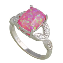Engagement items Rectangle shape simple style Purple fire Opal Silver Stamped Rings fashion Opal jewelry USA sz#7 #8#8.5 OR555A(China)