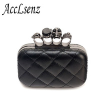 Hot Sale Ladies Clutch Bag Fashion Designer Chain Shoulder Bags Women Retro Skull Ring Dinner Party Bag(China)