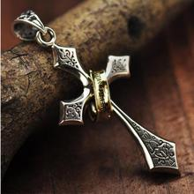 925 Sterling Silver Jesus Cross Pendant Memento Mori Flower Carving With Gold Color Circle Vitnage Personality Retro Type