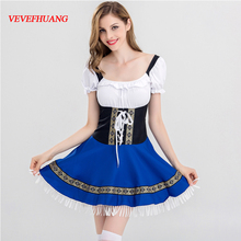 VEVEFHUANG Halloween cosplay fat people dress pants suspenders British women's uniforms farmer worker uniforms beer(China)
