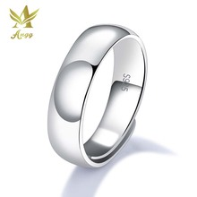ANGG Classic 925 Sterling Silver Rings For Men Simple & Smooth Design Resizeable 3 Width Options Never Fade Open Band