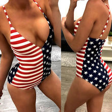 2017 Hot New Womens One-Piece Swimsuit American flag Pattern Beachwear Swimwear push up monokini bikini Striped Bathing Suit
