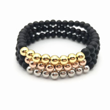 10pcs New 24K Real Gold, Rose Gold, Platinum Plated Round Copper Beads with 6mm natural matte Onyx Stretch Bracelet for woman(China)