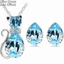 2017 pretty new wedding bridal summer fashion GP Austrian Crystal cat catty pendant necklace earrings jewelry sets 84575(China)